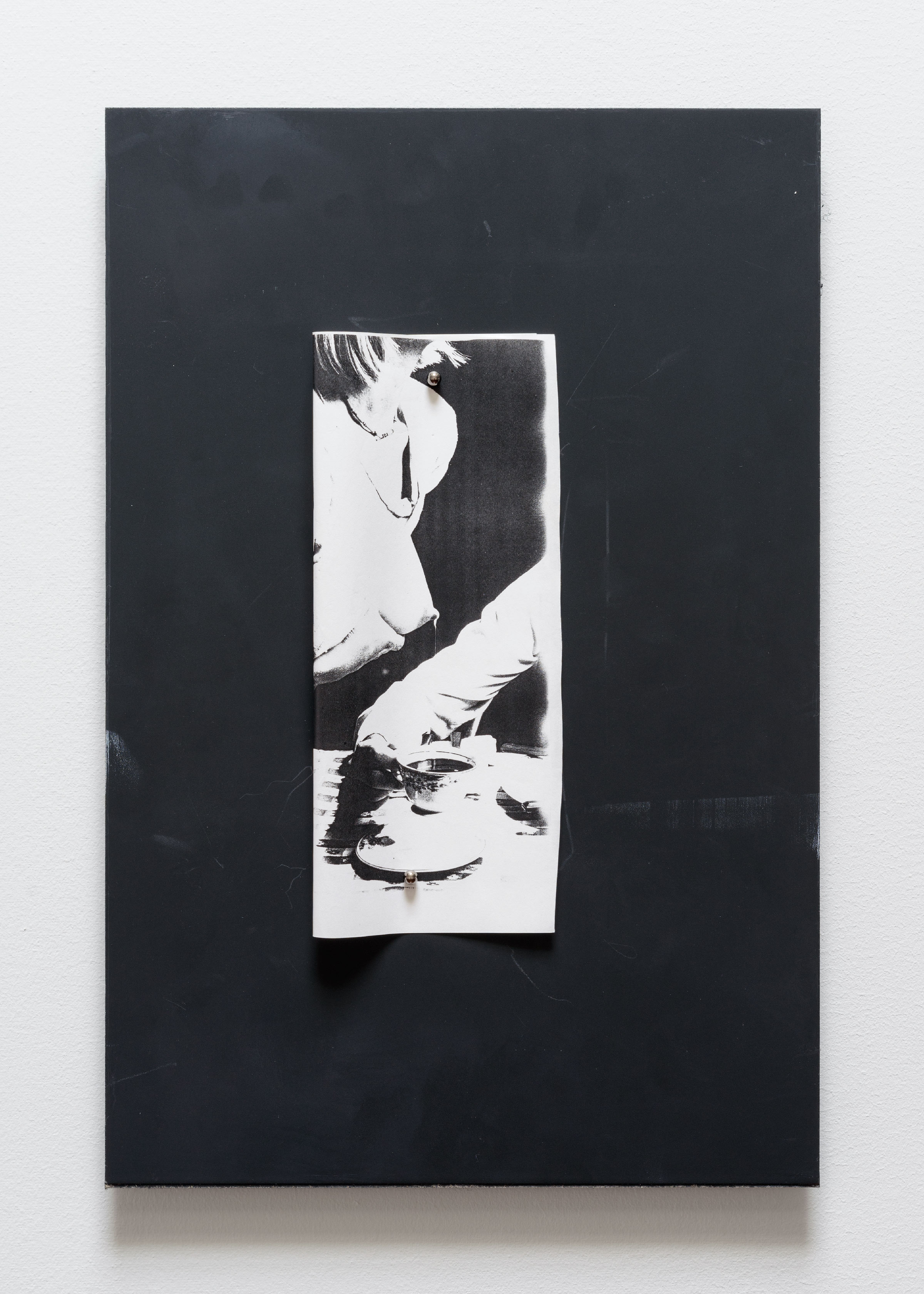 Gideon Barnett, 2015, found photocopy, chalkboard, magnets, 18 x 12 in (50 x 76 cm)